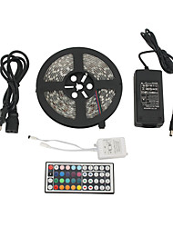 Waterproof 5M 300x5050 SMD RGB LED Strip Light with 44-Button Remote Controller and AC Adapter Set (100-240V)