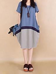 os grandes cor hit vestidos código mosaico de algodão das mulheres
