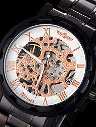 Manual esqueleto hueco mecánico de los hombres levantó la cara del reloj negro de acero de la muñeca banda de oro (colores surtidos)