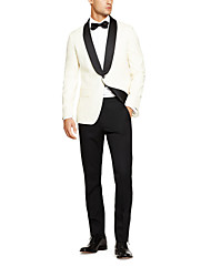 Black&White Solid Tailored Fit Tuxedos In Cashmere&Wool Two-Piece