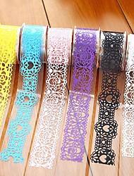 Washi Paper Lace DIY Decorative Sticky Masking Tape Self Adhesive Wedding Party Decorations(3pcs/set,Random Color)