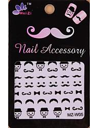 1PCS Cartoon Mustache Style Nail Art Stickers MZ Series MZ-W05