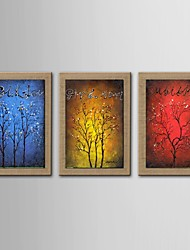 Oil Painting Modern Abstract Lucky Tree Set of 3 Hand Painted Natural linen with Stretched Frame