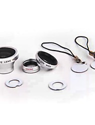 Magnetic Adsorption Universal Set 3in1 Fish Eye Wide Angle Micro Telephoto Camera Lens for iPhone HTC Samsung Sony etc.