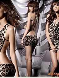 Sexy Leopard Deep V Mini Dress Sexy Uniform