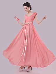 Floor-length Chiffon Bridesmaid Dress - Sheath / Column V-neck with