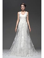 Vestido de Boda - Blanco y Champaña (el Color y Estilo pueden variar según su monitor) Corte en A Hasta el Suelo - Con Tirantes