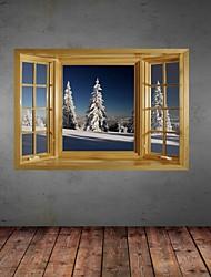 Etiquetas engomadas de la pared de la pared 3d, nieve pino decoración pegatinas de vinilo de pared