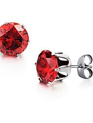 Women's Red Crystal Diamond Crystal Titanium Steel Earrings