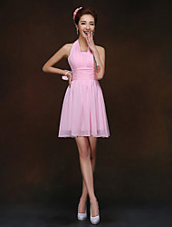 Short / Mini Lace-up Bridesmaid Dress - Sheath / Column Halter with Ruching