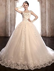 Ball Gown Wedding Dress Chapel Train Straps Tulle/Stretch Satin
