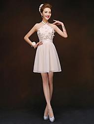 Short/Mini Bridesmaid Dress - Champagne Sheath/Column High Neck