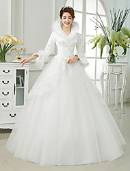 Ball Gown Wedding Dress Floor-length High Neck Satin / Tulle with Appliques / Feather / Fur / Beading