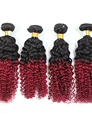 """4Pcs/Lot Top Quality Remy Brazilian Jerry Curly Human Hair Extension 1B/99J Ombre Hair 12""""-24"""""""