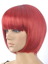 Women's Fashionable Red Cosplay Party Wigs with Full Bang