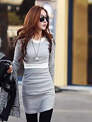 Women's Patchwork Black/Gray Dress , Work Round Neck Long Sleeve