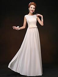 Sheath/Column Scoop Floor-length Chiffon Bridesmaid Dress