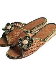 scarpe da donna punta aperta pantofole tacco piatto di bambù scarpe più colori disponibili