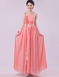 Floor-length Chiffon Bridesmaid Dress - Watermelon Sheath/Column Strapless