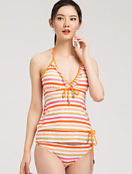 Sanqi Women's Sweet Nautical Stripe Three Pieces Push-up Bikini Swimming Suit