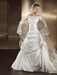 A-line Wedding Dress - Ivory Court Train Bateau Lace / Satin