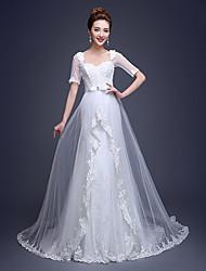 Sheath/Column Wedding Dress Court Train Queen Anne Tulle