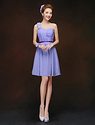 Short / Mini One Shoulder Bridesmaid Dress - Lace-up Sleeveless Chiffon