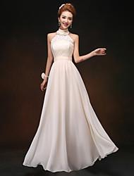 Floor-length Bridesmaid Dress - Champagne Sheath/Column Straps