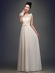 Floor-length Chiffon Bridesmaid Dress - Champagne A-line One Shoulder