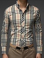 Men's White/Beige Casual Long Plaid Shirt