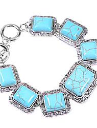 Coway Square Multiple Beaded Turquoise Bracelet