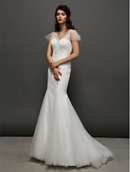 Lanting Bride Trumpet/Mermaid Wedding Dress-Court Train V-neck Tulle