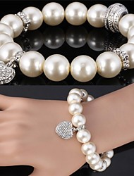 Fancy Cute Heart Charm Pearl Beads Bangle Bracelet SWA Rhinestone Jewelry for women High Quality