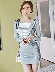 Women's Casual/Daily Bodycon Dress,Striped Round Neck Mini Long Sleeve Gray Polyester Spring / Fall