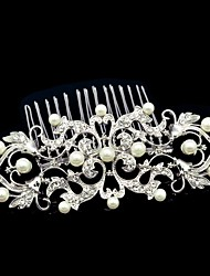 10.7cm Dossy Women Wedding Party Flower Girl Flower Comb with Rhinestone and Imitation Pearl