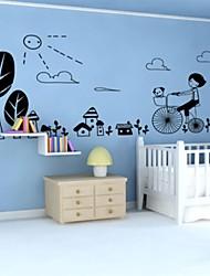stickers muraux stickers muraux, fille heureuse en vélo pvc stickers muraux
