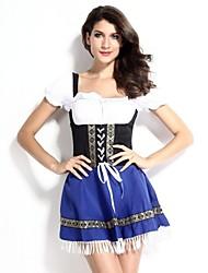 Cosplay Kostüme Party Kostüme Oktoberfest/Bier Fest/Feiertage Halloween Kostüme Schwarz und Blau Patchwork Top Rock Beinschützer