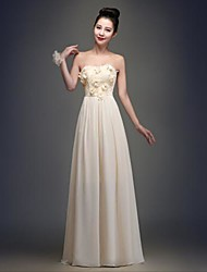 Floor-length Chiffon Bridesmaid Dress - Champagne A-line Strapless