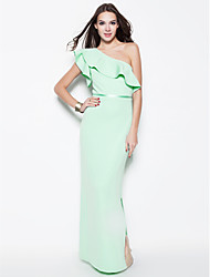 Formal Evening Dress Plus Size / Petite Sheath / Column One Shoulder Floor-length Cotton with Sash / Ribbon