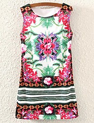 Women's Jacquard Retro Floral Print Micro-elastic Sleeveless Dress (Polyester)