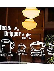 """65 * 32cm (26 """"13 * w"""" l) l'heure du café autocollant de la fenêtre de mise en page"""