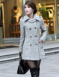Women's Beige/Gray Coat , Casual Long Sleeve Tweed