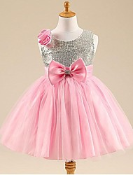 Ball Gown / Princess Knee-length Flower Girl Dress - Tulle Sleeveless Scoop with