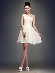 Knee-length Chiffon Bridesmaid Dress - Champagne Ball Gown One Shoulder