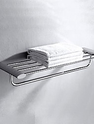 Polished Chrome Solid Brass Bathroom Shelf With Towel Bar