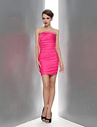 Knee-length Satin Bridesmaid Dress Sheath/Column Strapless