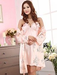 Satin/Polyester Sexy Solid Color Casual/Party Sleepwear Set