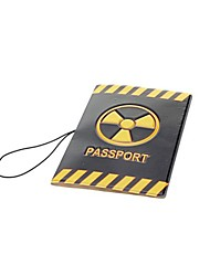 Protective PVC Passport Holder Cover - Black + Yellow