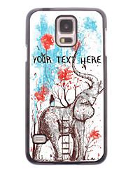 caja del teléfono personalizado - chica se sienta en la caja de metal diseño del elefante para i9600 Samsung Galaxy S5