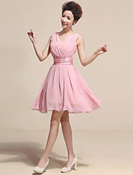 Knee-length Chiffon Bridesmaid Dress - Blushing Pink Princess V-neck